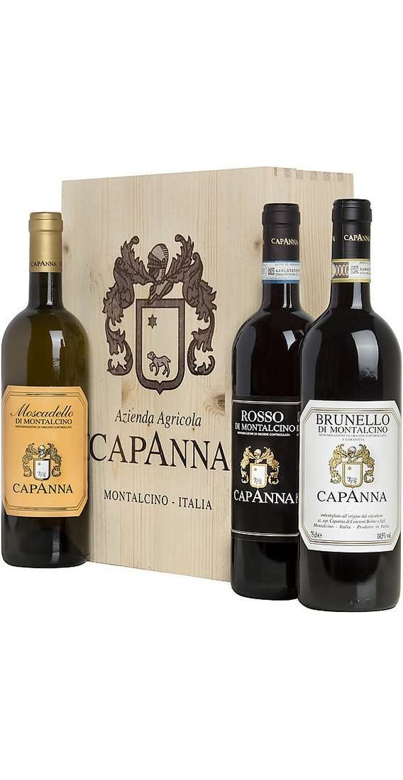Brunello Montalcino, Rosso Montalcino e Moscadello in Wooden Box