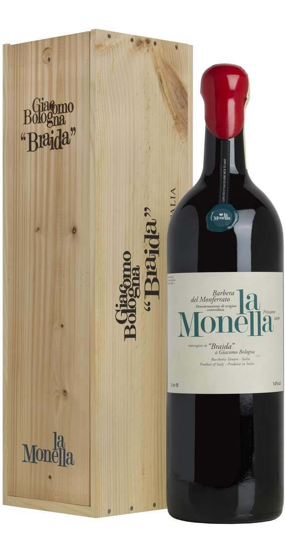 "Double Magnum 3 Liters Barbera del Monferrato ""La Monella"" Frizzante DOC in Wooden Box"