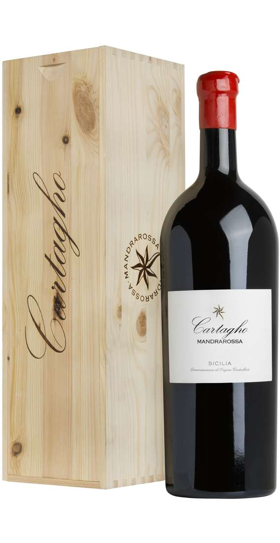 """Double Magnum 3 Liters Nero d'Avola """"Cartagho"""" DOC in Wooden Box"""