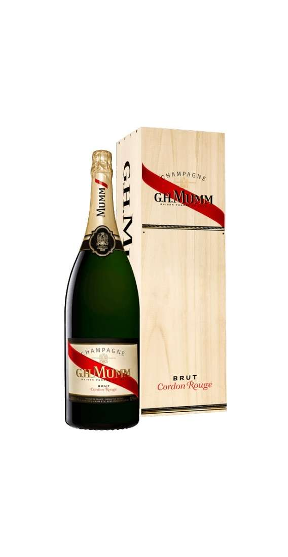 "Jéroboam 3 Liters Champagne Silver ""Cordon Rouge"" in Wooden Box"