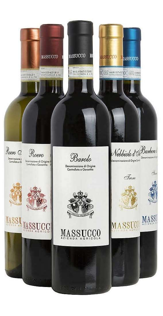 Selection of 6  Piedmont Wines Winery Massucco
