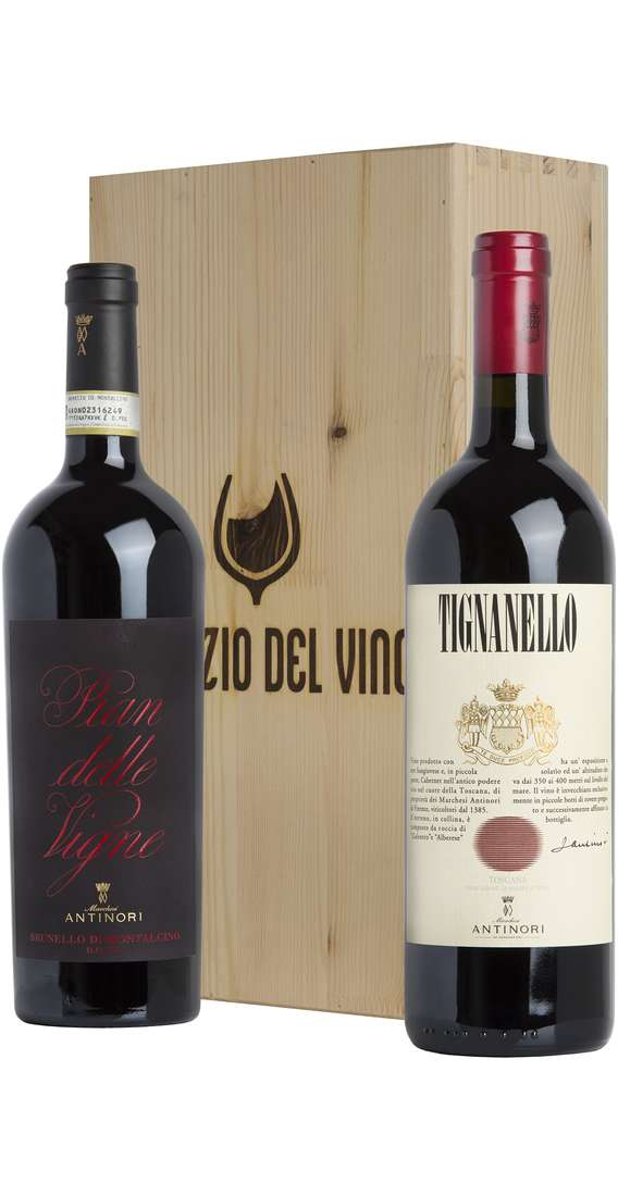 Wooden Box 2 Wines Tignanello 2017 e Brunello Montalcino 2015