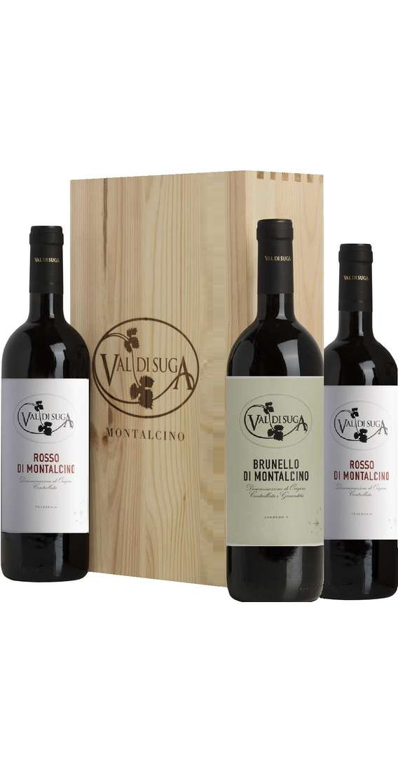 Wooden Box 3 Wines Brunello and Rosso of Montalcino