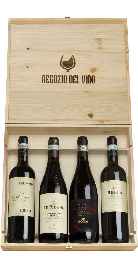 Wooden Box 4 Wines Amarone, Ripasso, Valpolicella e Custoza
