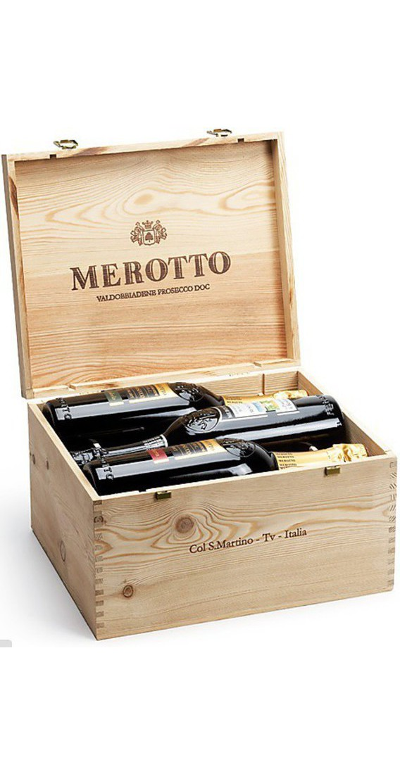 Wooden Box 6 Sparkling Merotto