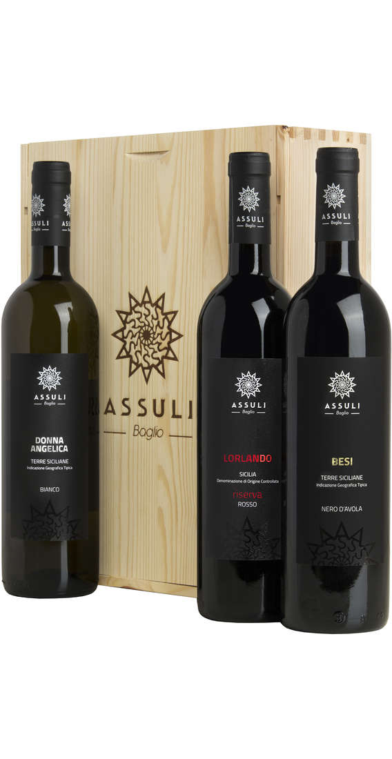 "Wooden Box Nero d'Avola ""BESI"", Nero d'Avola Riserva ""LORLANDO"" e Catarratto ""DONNA ANGELICA"""